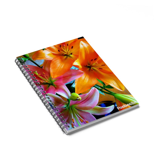 Positives.Biz ~ Multi-Colored Lilies ~ Spiral Notebook ~ Ruled Line