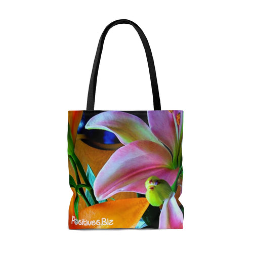 Positives.Biz ~ Multi-Color Lilies ~ All Over Print Tote Bag