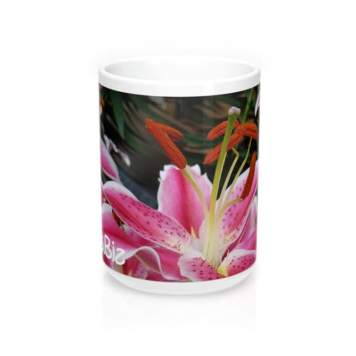 Positives.Biz ~ Ravishing Lily ~ Floral Mug ~ 15 oz