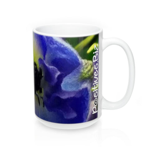 Positives.Biz ~ Beautiful Blue ~ Floral Mug ~ 15oz