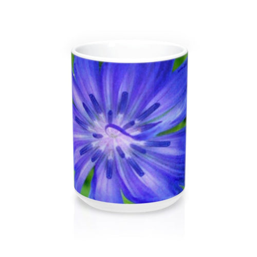 Positives.Biz ~ Lovely Chicory ~ Floral Mug ~ 15oz