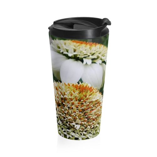 Positives.Biz ~ Calming Cone Flower ~ Stainless Steel Travel Mug