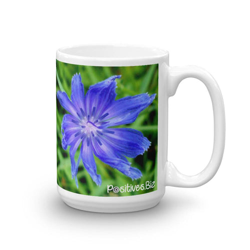 Positives.Biz ~ Lovely Chicory ~ Floral Mug ~ 15 oz