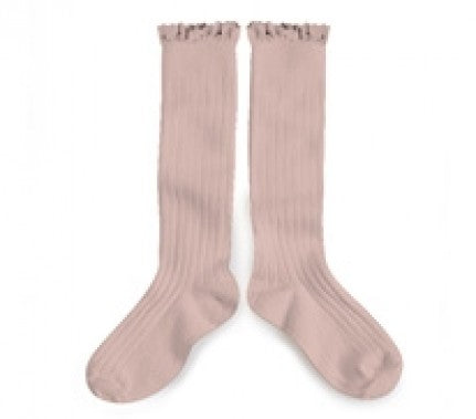 Knee High Ruffle Trim Socks-Rose