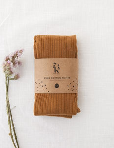 Ribbed Tights-Acorn