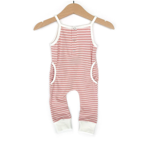 Tank Stripe Romper-Blush