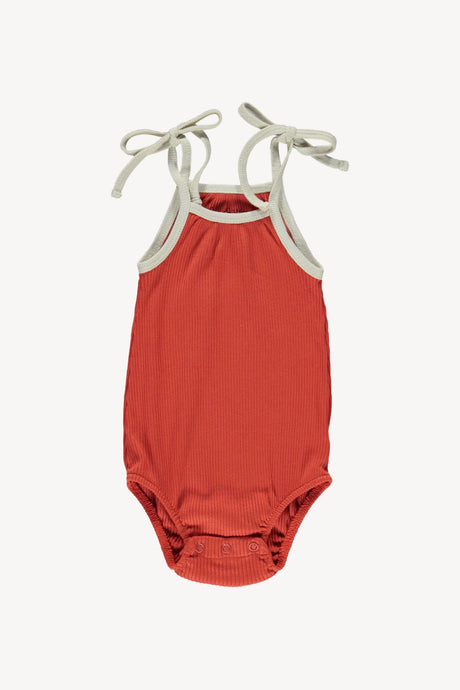 Bubble Tie Onesie-Brick Red