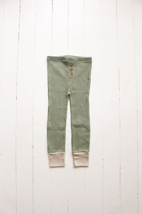 Waffle Button Pant-Sage