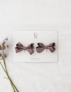 Charlotte Pigtail Bow Hairclip Set - Earth