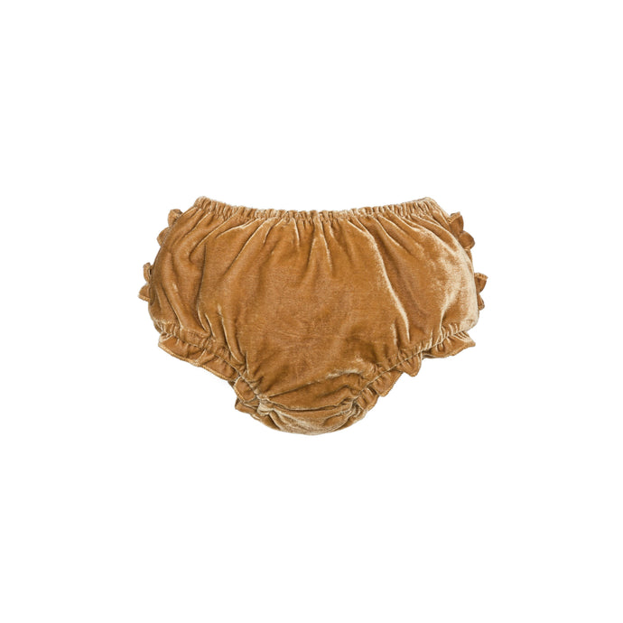Velvet Ruffle Bloomer-Burnt Mustard
