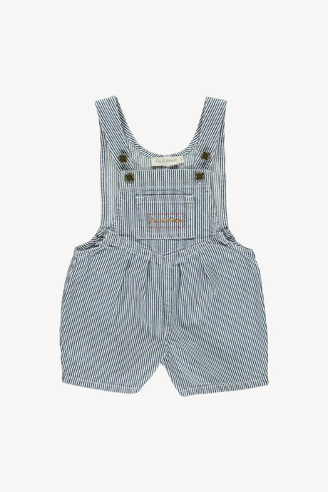 Denim Short Overalls-Stripe