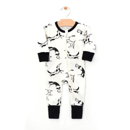 Dogs and Frisbees Two-way Zip Romper