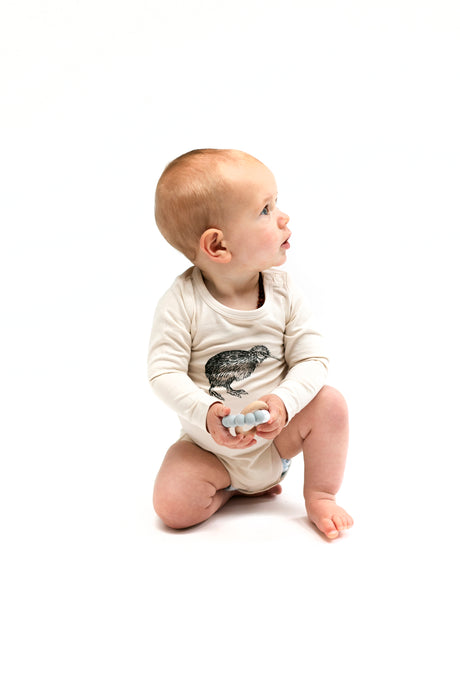 Long Sleeve Onesie-Almond Kiwi