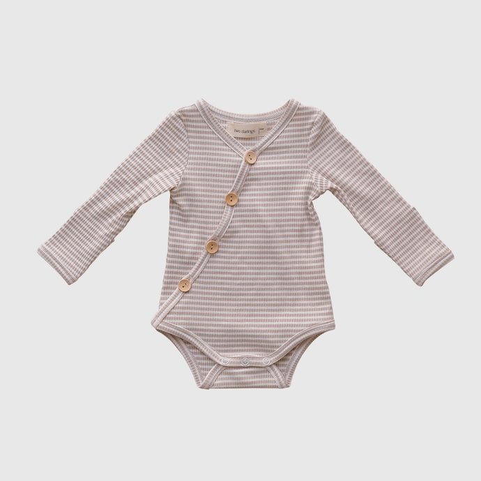 Long Sleeve Bodysuit-Fawn Stripe