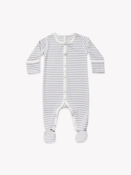 Full Snap Footie-Grey Stripe