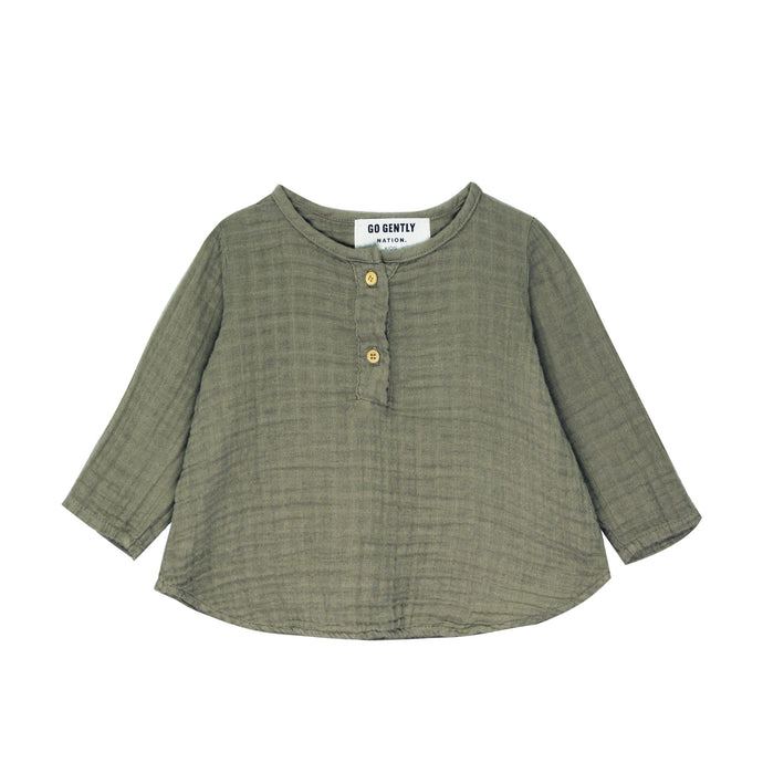Gauze Placket Top-Thyme