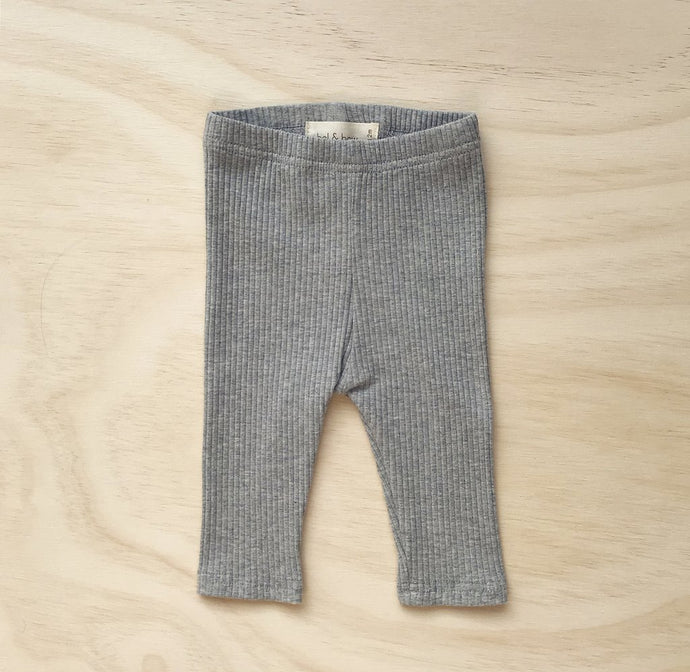 Ribbed Leggings-Grey Marle