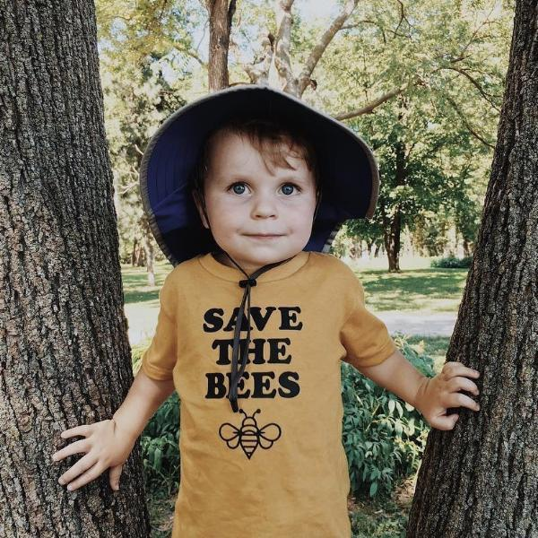 Save The Bees Tee-Mauve & Mustard