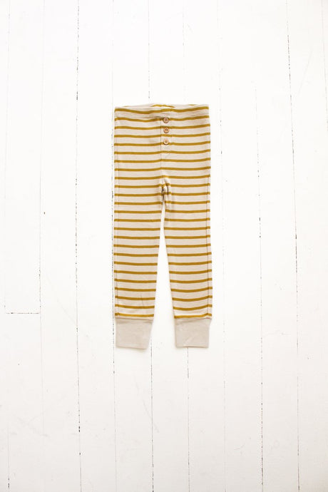 Button Pant-Striped Mustard