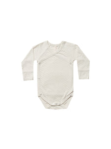 Pointelle Kimono Long Sleeve Onesie-Pebble