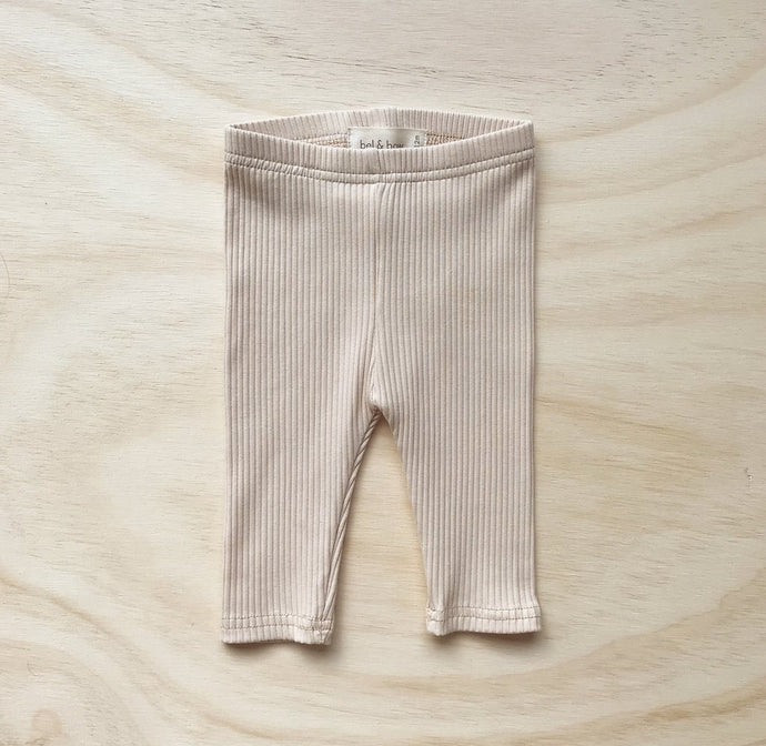 Ribbed Leggings-Light Oatmeal
