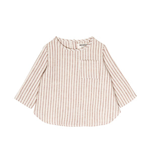 Long Sleeve Placket Top-Hazelnut Stripe