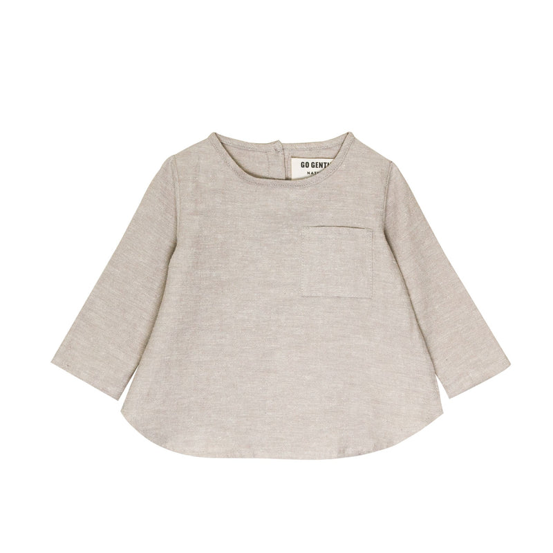 Long Sleeve Placket Top-Wheat