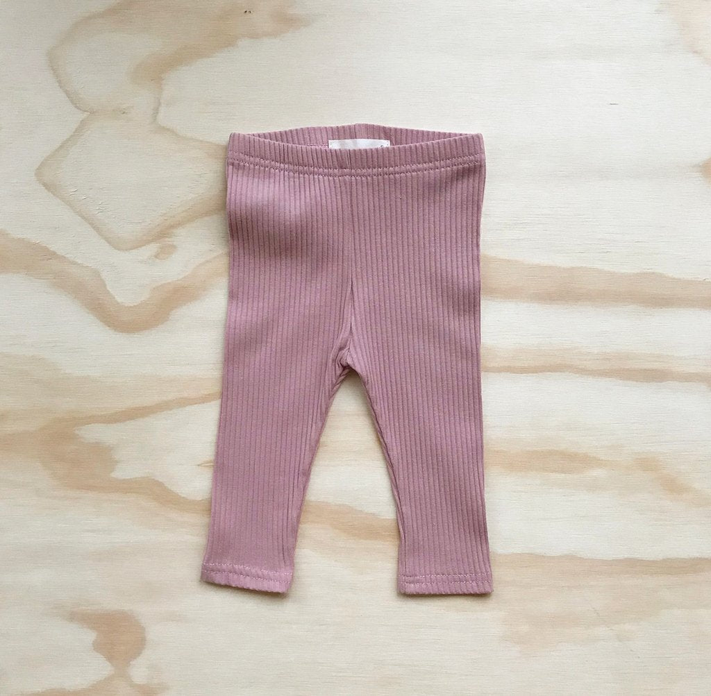 Ribbed Leggings-Musk Pink