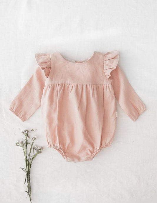 Milana Winged Linen Playsuit - Sweet Peach