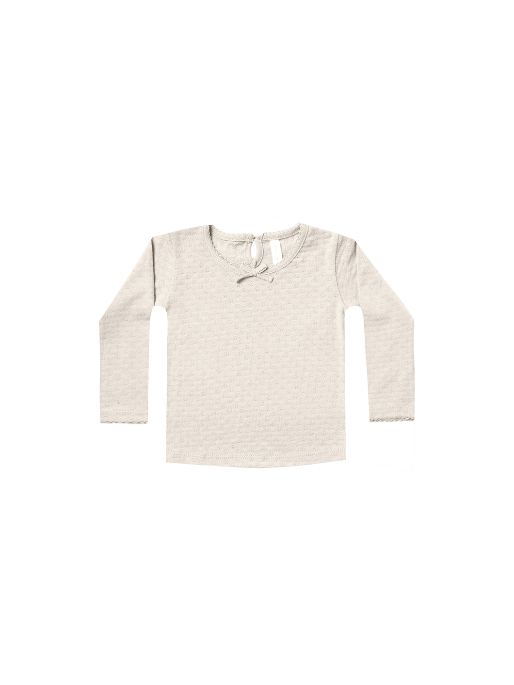 Pointelle Longsleeve Tee - Pebble