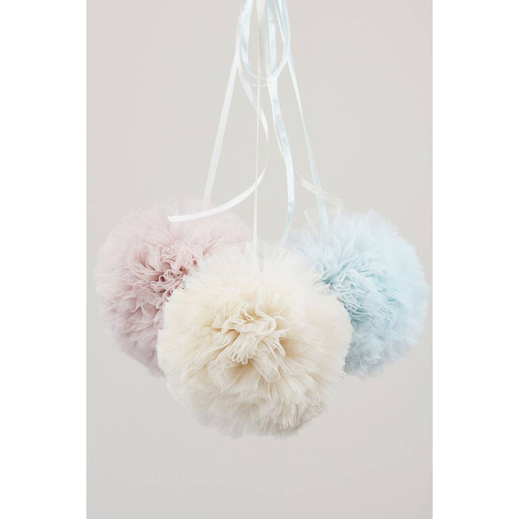 Cotton Candy Tulle Pom Poms-Blush Rose