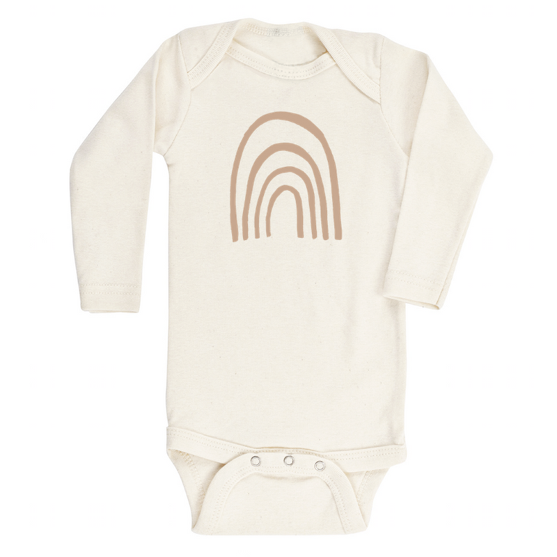 Long Sleeve Rainbow Bodysuit-Clay