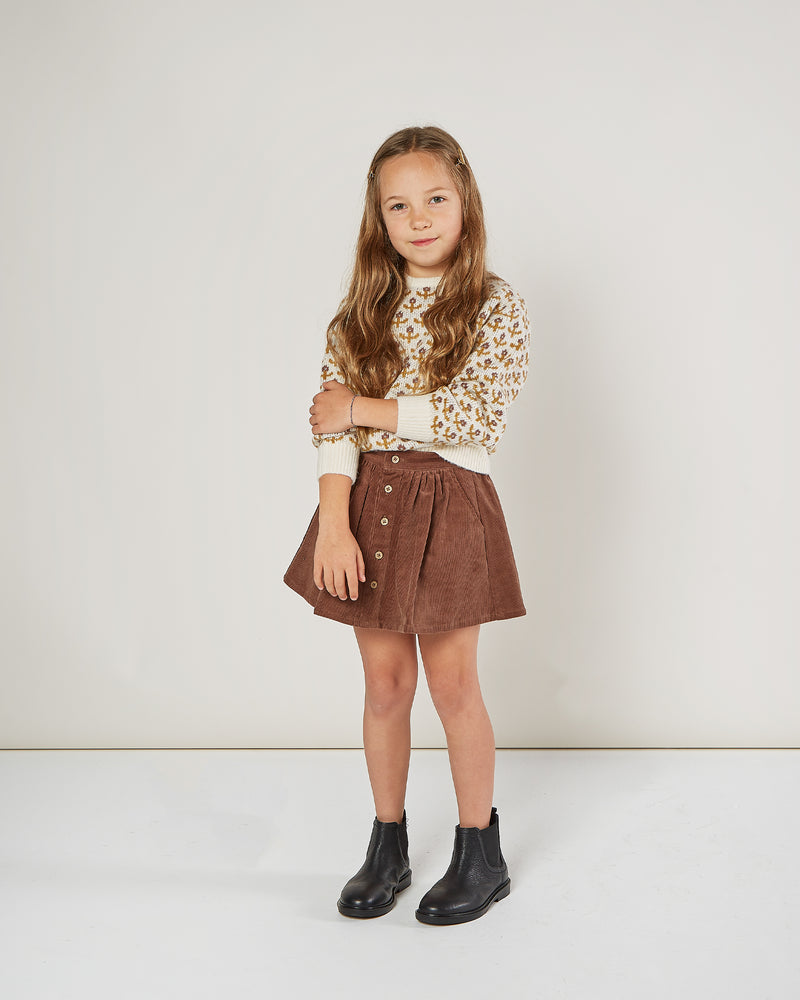 Button Front Mini Skirt- Wine