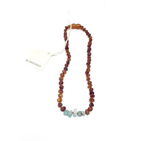 Teething Necklace-Raw Cognac Amber + Amazonite
