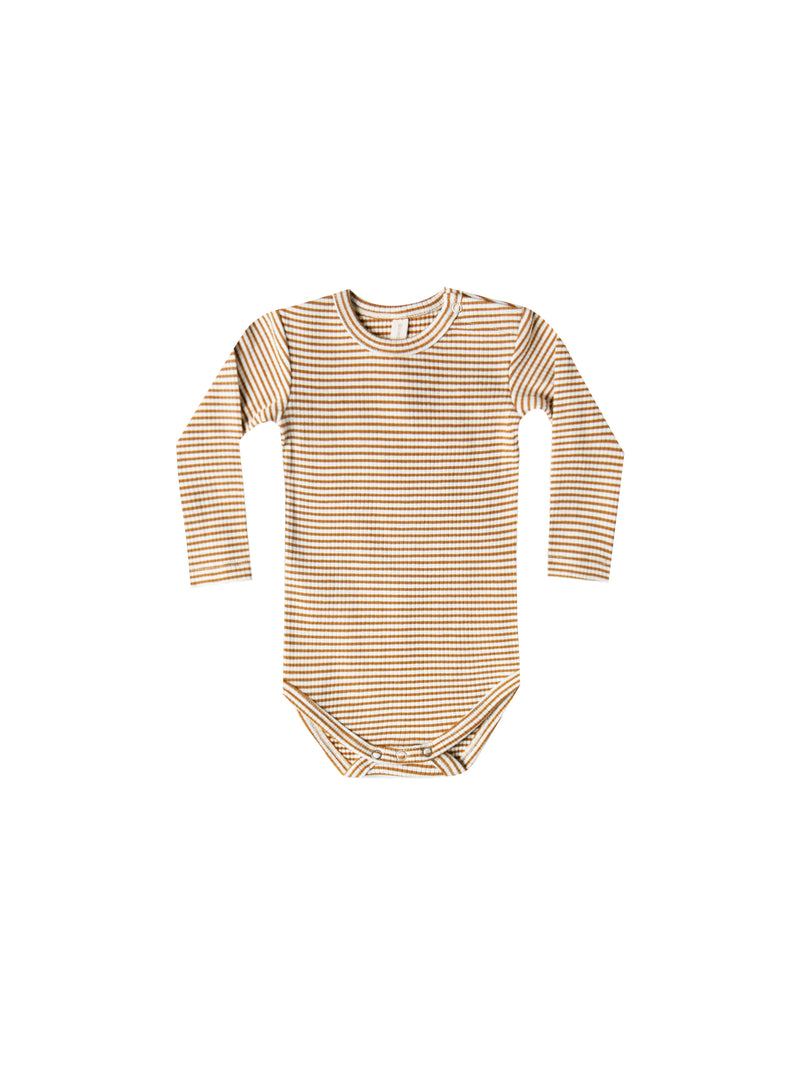 Ribbed Longsleeve Onesie, Walnut Stripe