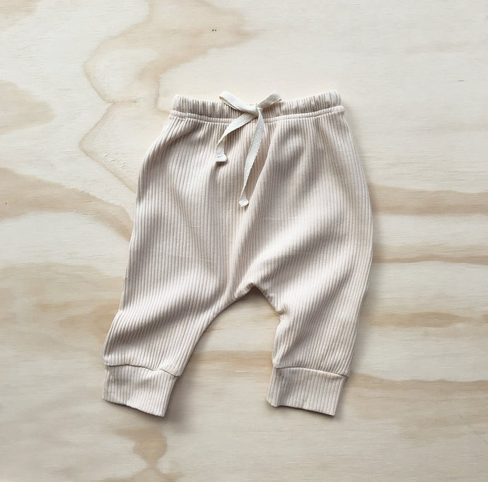 Ribbed Harem Track Pants - Light Oatmeal