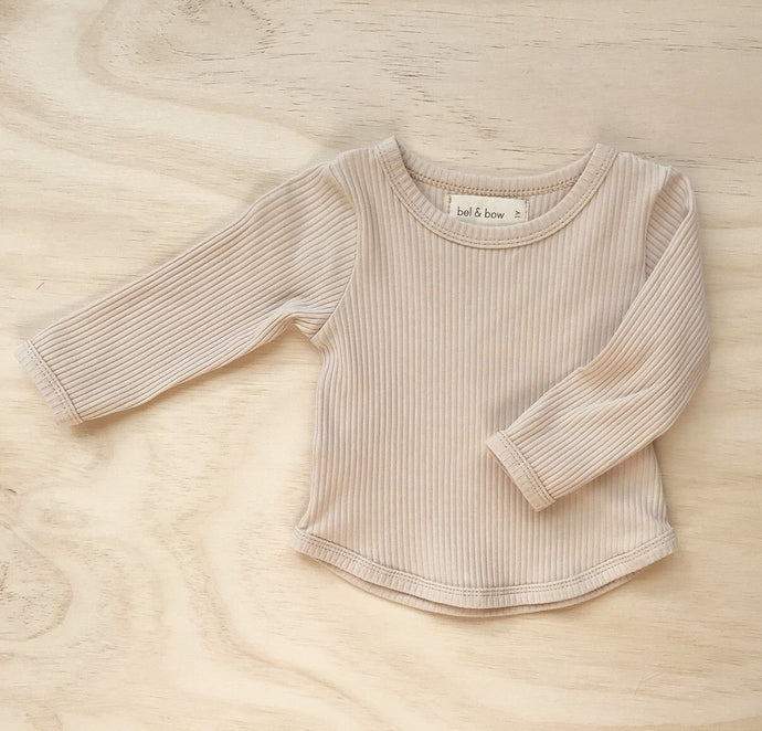 Ribbed Long Sleeve Top - Light Oatmeal