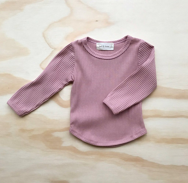 Ribbed Long Sleeve Top - Musk Pink