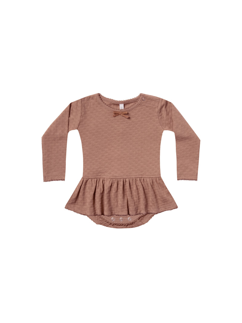 Pointelle Skirted Onesie-Clay