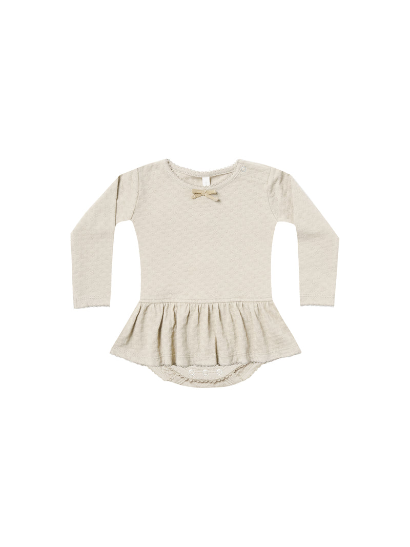 Pointelle Skirted Onesie-Pebble
