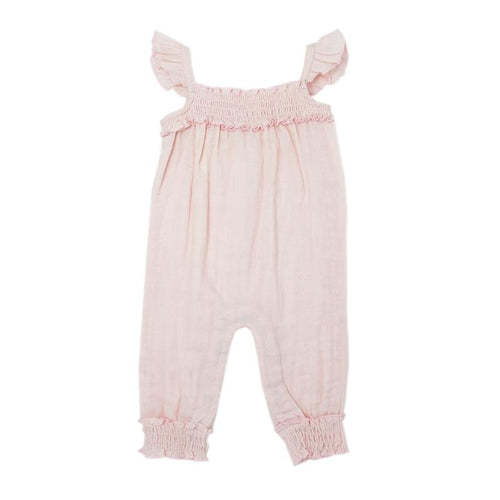 Muslin Sleeveless Romper-Blush