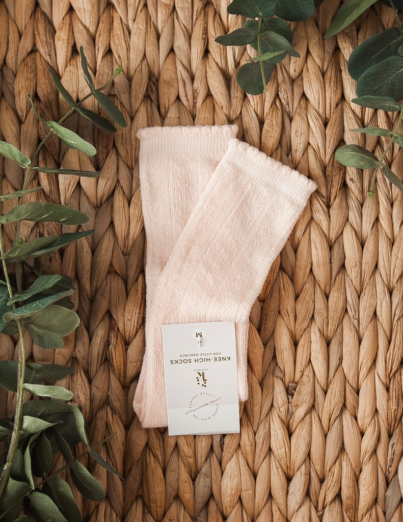 Sweet Love Pattern Mesh Knee-High Socks - Soft Peach