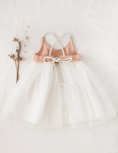 Willa Linen Reversible Tutu Dress - Peach Orchard