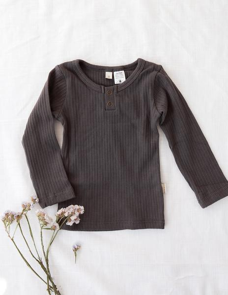 Willow Long Sleeve Cotton Top - Slate