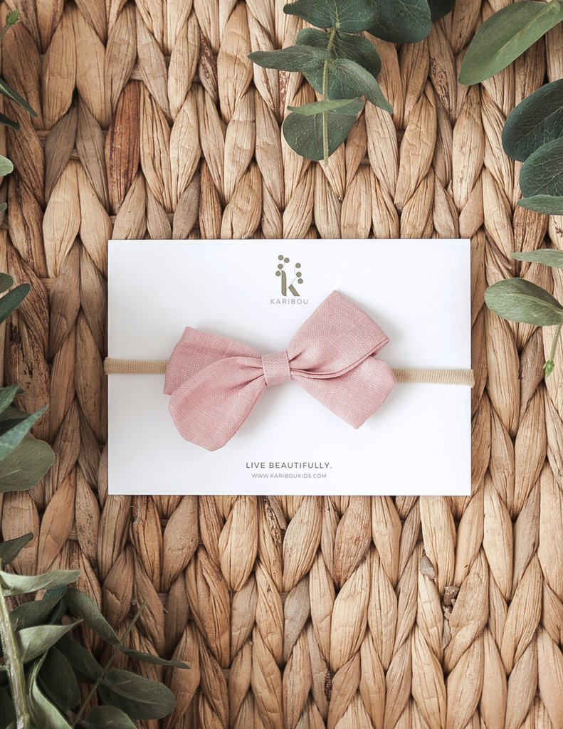 Lulu Linen Bow Headband -Blush