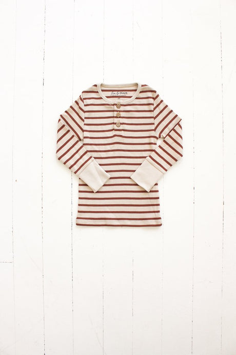 Henley Top-Striped Spice