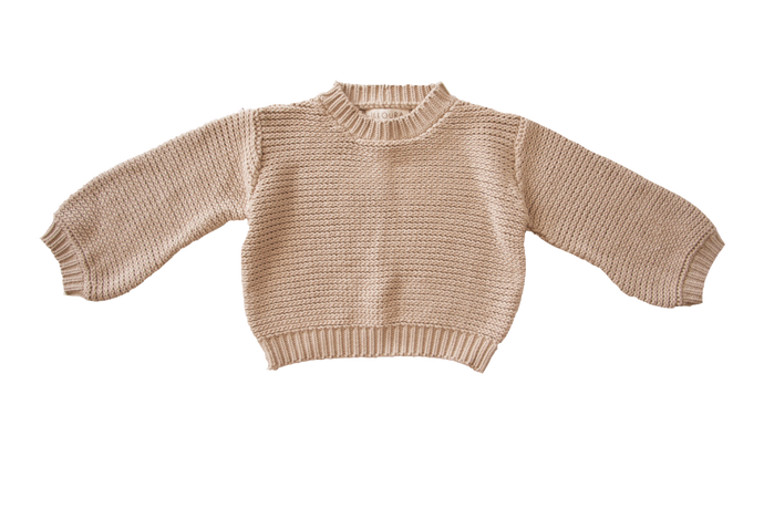 Chunky Knit Pullover-Oat
