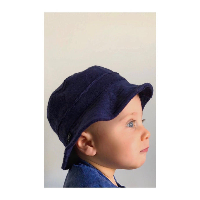 Fini. Terry Bucket Hat-Navy Blue