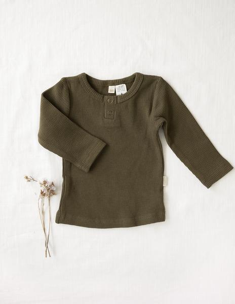 Willow Long Sleeve Cotton Waffle Top -Olive