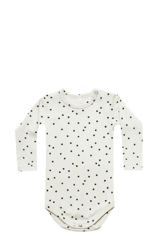 Ribbed Longsleeve Onesie-Pebble Dot